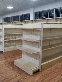 胶州某刺绣厂在青岛钧发货架定制一批钢木货架用于样品展示