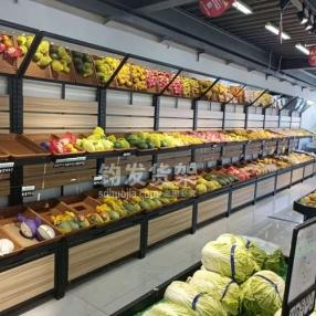青岛某大型连锁超市定制果蔬架安装完成
