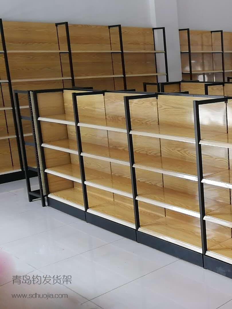 四角柱木纹超市货货架