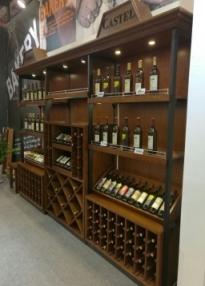 钢木结合货架-红酒货架